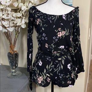 Black floral romper